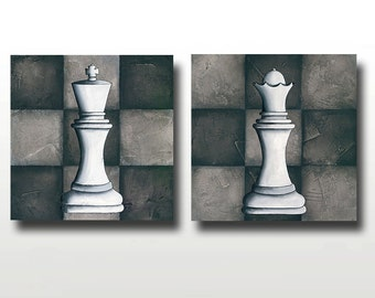 CLEARANCE King or Queen Chess Piece Print - ONLY 1 LEFT - Chess or Game Lovers Art - The Royal Couple