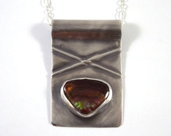 Sterling Silver Necklace Fire Agate Pendant Metal Jewelry Metalwork Pendant Stone Necklace