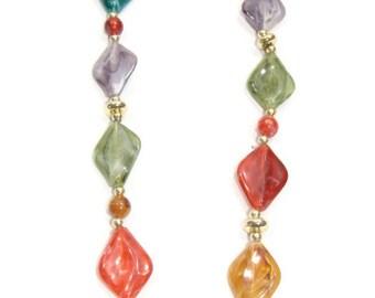 Vintage Diamond Shape Multi Color Necklace