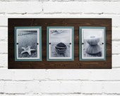 Triple Plank Frame for 5x7 Pictures Dark Wood and Turquoise