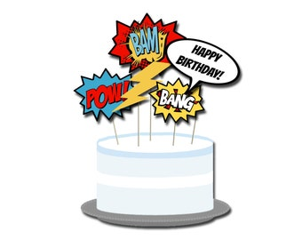 Superhero Comic Book Cake Toppers - Digital