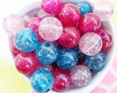 10x 15mm Glitter Globe Resin beads in Pink and Blue