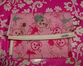 Graffiti Skulls - Wallet - Velcro - Zipper - Change Purse - Pink - Gray - Made in USA