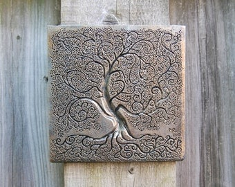 Gift For Grandma Silver Tree Of Life Art, Grandmother Garden Gift, Tree Of  Life