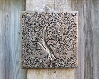 Tree of Life Art, Grandmother Gift, Garden Gift, Silver Tree of Life Sculpture, Pewter Tree Outdoor Wall Art