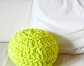 Ball off Crochet Pillow - neon yellow