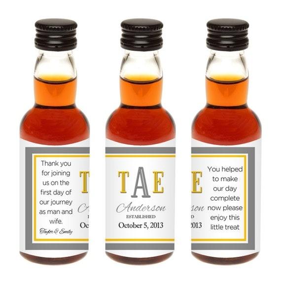 Custom Mini Liquor Bottle Labels Wedding Favors By