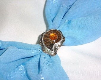 Incredible Ammonite, 14k Gold and Silver Statement Ring