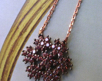 Snow Flake Necklace  simple chic sterling rose gold winter xmas gift smokey quartz