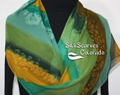 Hand Painted Silk Scarf. Green & Terracotta Handmade Chiffon Silk Scarf MOUNTAIN DAWN. Silk Scarves Colorado. Offered in Several SIZES.