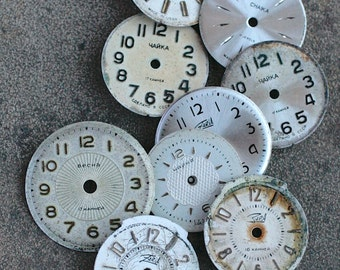Small Vintage Soviet Watch Faces from 1980's -- set of 9 -- D7