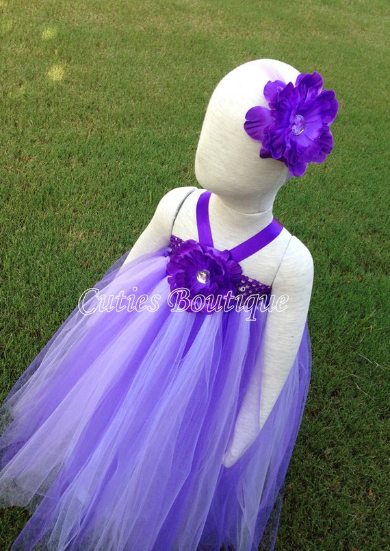 Purple white flower dress wedding birthday by cutiesboutique for 12 month dresses for wedding