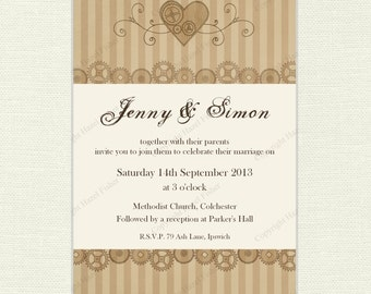 Steampunk Wedding Invitation - printable Wedding invite customised with your choice of text - sepia cogs and heart design  - IN011