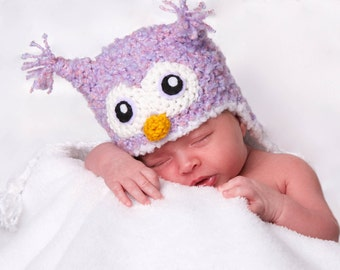 Crochet Fuzzy Soft Purple/Pink Owl Hat (Newborn)