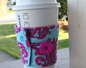 Damask Coffee Cup Sleeve by CK Stitches - Reusable Cup Cozy - Bright Pink and Blue Damask Coffee Wrap - Teacher Gift - Mothers Day