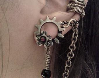Forbidden Fruit Ear Cuff non-piercing garnet ear wrap red silver and black dangle earring