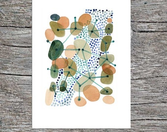 Pebbles   Giclee print from watercolor painting  abstract Art Green brown dots connected by geometric lines