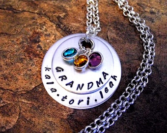 Grandma Necklace, Personalized Jewelry, Name Necklace, Hand Stamped Jewelry, Jewelry for Grandma, Birthstone Necklace