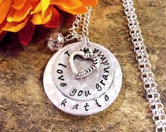 Grandma Necklace, Personalized Jewelry, Hand Stamped Jewelry, Jewelry for Grandma, I Love You Grandma