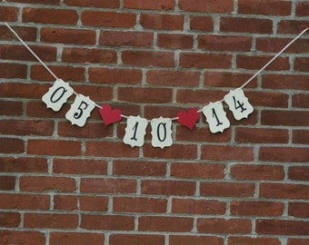 Save the date Wedding Banner, engagement pictures - photography prop, photo prop, wedding photos, you pick colors, small hand held banner