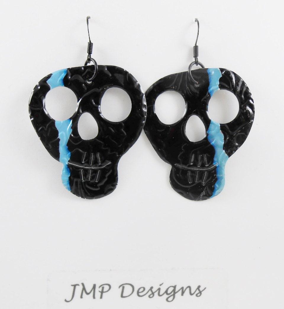 black skull earrings sided and embossed