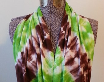 Tie Dye Infinity Scarf -- Chocolate Brown and Granny Apple Green