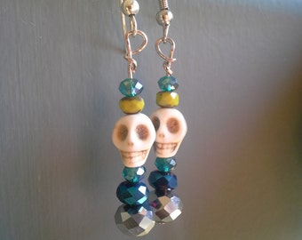 Blue & Green Skull Bead Earrings: Set 4
