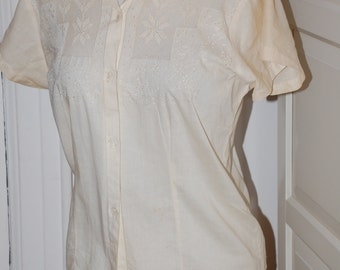 40s, 50s Embroidered Blouse, Cotton, Drawn Work, Shirt, Tea Color, Size Medium