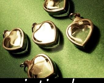 Terrarium Kit, Shadow Box Pendants, Heart Necklace, Display Cases, Diorama Supplies, Clear Locket, Silver Metal, Art and Craft, 5pcs