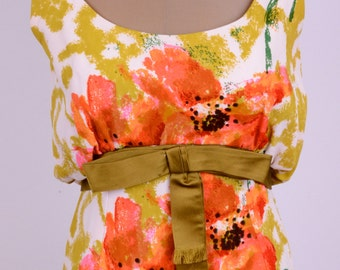 60's Abstract Floral Maxi Upscale Occasion Dress