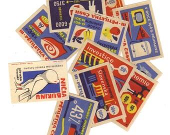 SALE 12 Vintage Matchbox Labels - Set 20