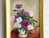 Vintage Peony Bouquet Oil Painting