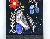Chouette and the Blue Egg, owl and flowers, 8x10 metal print