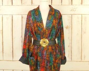 80s vintage watercolor floral mens style blazer jacket