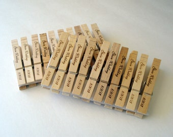 40 Custom Clothespin Wedding Favors card holders