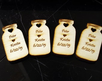 180 Mason Jar Wedding favors Personalized Wood Cut out