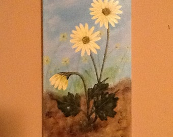"Original Acrylic Painting By Artist.....Signed.....""Daisy Flowers"""