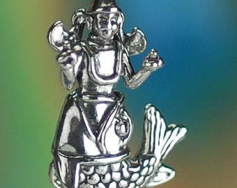 Sterling Silver Matsya Hindu God Vishnu Charm Fish Avatar Solid .925