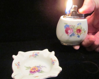 1950s Ceramic Lighter And Ashtray Hand Painted Floral Vintage Working Lighter