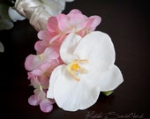 Orchid and Hydrangea Wedding Corsage - White Orchid and Pink Hydrangea Corsage