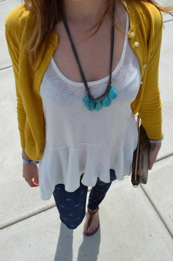 single layer turquoise and gray necklace
