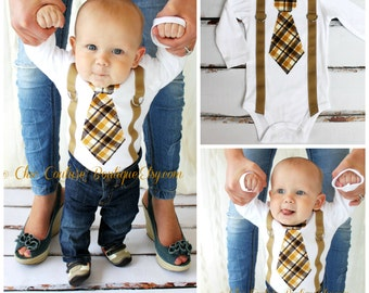 Baby Boy Tie and Suspenders Bodysuit. 1st Birthday Cake Smash. Tan Brown Citrine Plaid Fall. Mother's Day Father's Day Tie Outfit Summer Set
