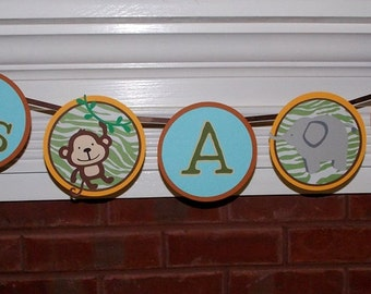 Jungle Banner It's A Boy Baby Banner Safari Shower Decoration Papagyo Inspired Gold Blue Green Brown Zebra Monkey Elephant Lion
