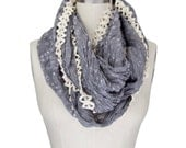GRAY LACE TRIM infinity scarf, vintage inspired crochet trim scarf, lightweight infinity scarf
