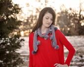 Gray Chenille Pom Pom Scarf Knit Women's Fashion Accessory Slate Gray Furry Pom Poms Mulberry