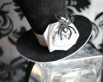 Black Spider and Silver Rose Halloween Twilight Fairy Mini Top Hat