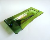Fused Glass Dish - Olive Green and Chartreuse Glass - Trinket Dish - Candle Dish - Green Fused Glass