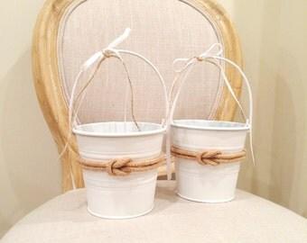Flower Girl Basket, Flower Girl Pail, Beach Pail, Nautical Basket, Nautical Wedding, Beach Wedding, Summer Wedding, Flower Girl, Ring Boy