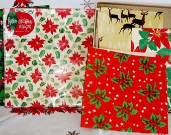 "VINTAGE Christmas WRAP, 1 Lg Full Sheet w/Bells Holly, Orig. Pkg Of ""Whitman"" NOS w/Poinsettias, Gold Cardboard Box w/Reindeer , 1940's Era"