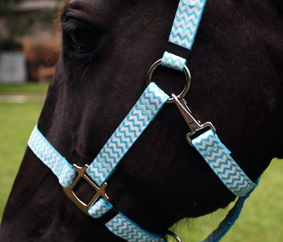 Chevron Horse Halter Light Blue And White Chevrons